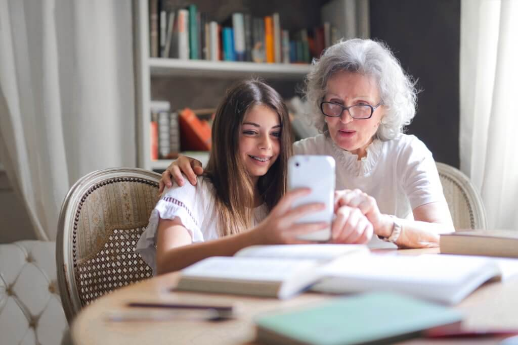 Elderly woman and grandchild